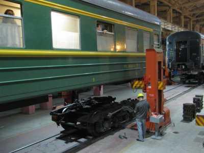 I Kina heises toget v�rt opp for � bytte understell.
